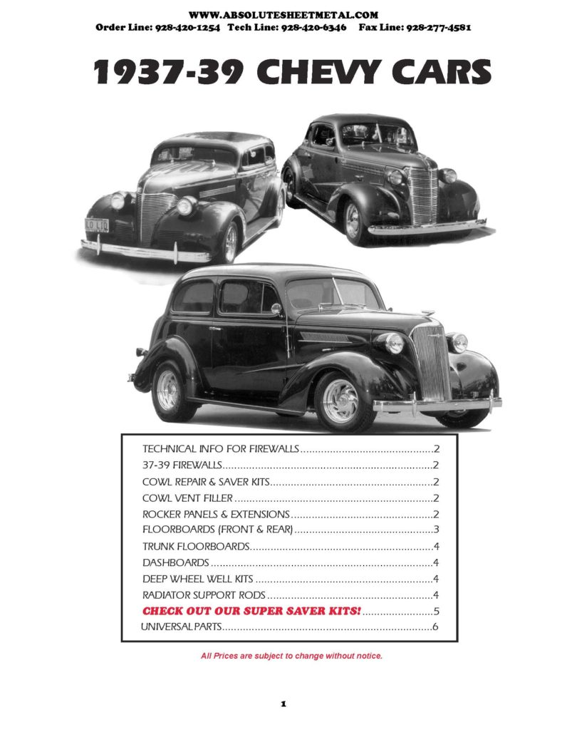 Bitchin Parts Absolute Sheet Metal 1937 - 1939 Chevy Cars 2018 Catalog