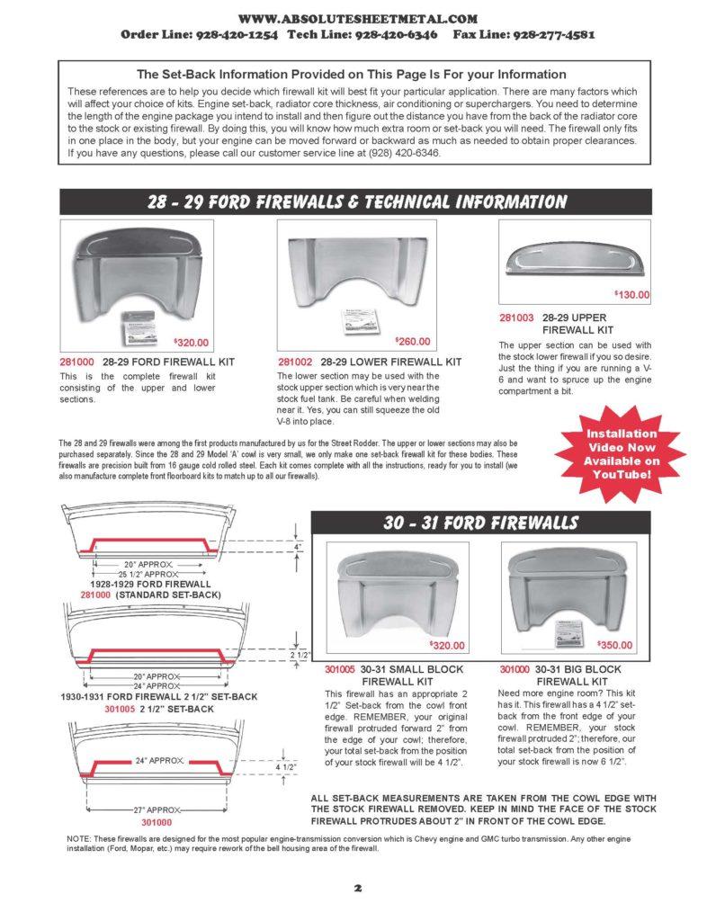 Bitchin Parts Absolute Sheet Metal 1928 - 1931 Ford Cars Firewalls