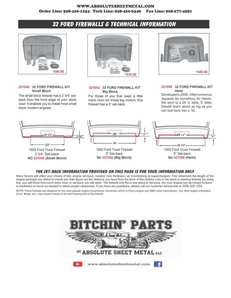 Bitchin Parts Absolute Sheet Metal 1932 Ford Cars Firewalls