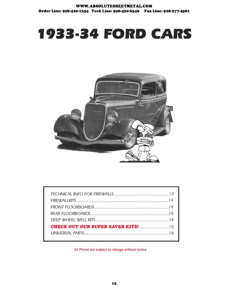 Bitchin Parts Absolute Sheet Metal 1933 - 1934 Ford Cars 2018 Catalog