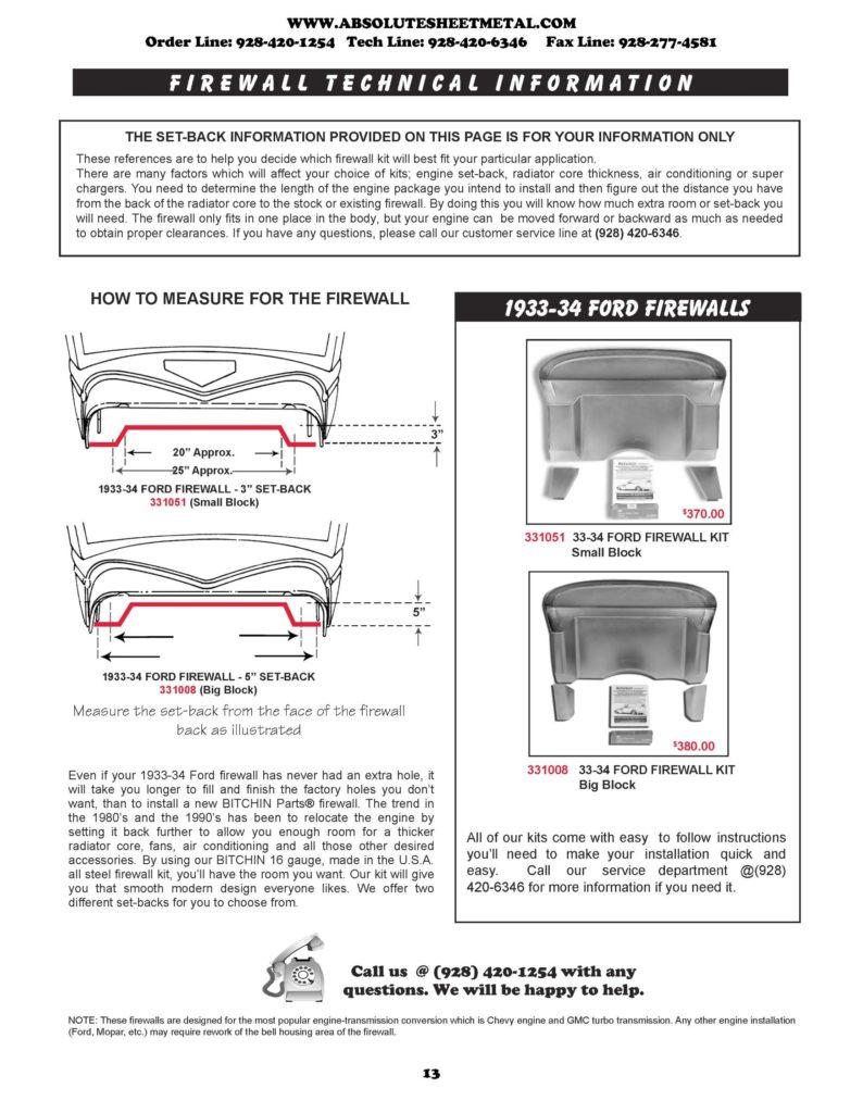 Bitchin Parts Absolute Sheet Metal 1933 - 1934 Ford Cars Firewalls