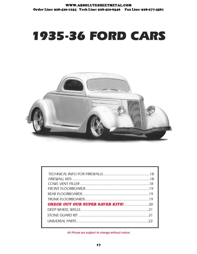 Bitchin Parts Absolute Sheet Metal 1935 - 1936 Ford Cars 2018 Catalog