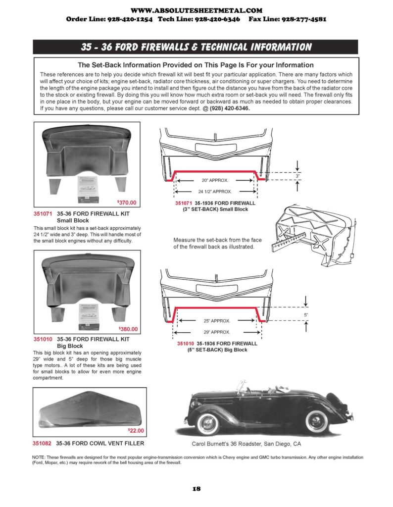 Bitchin Parts Absolute Sheet Metal 1935 - 1936 Ford Cars Firewalls