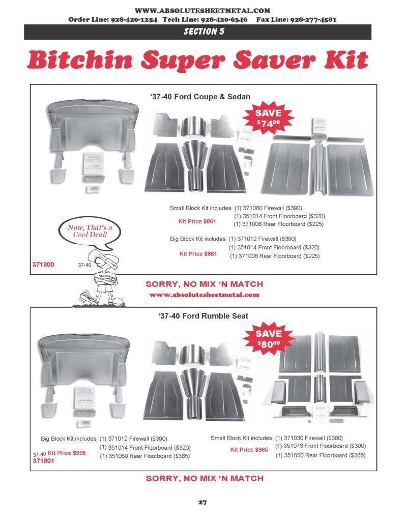 Bitchin Parts Absolute Sheet Metal 1937 - 1940 Ford Cars Super Saver kits
