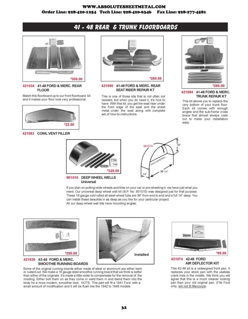Bitchin Parts Absolute Sheet Metal 1941 - 1948 Ford Cars Rear Trunk Floorboards Deep Wheel Wells
