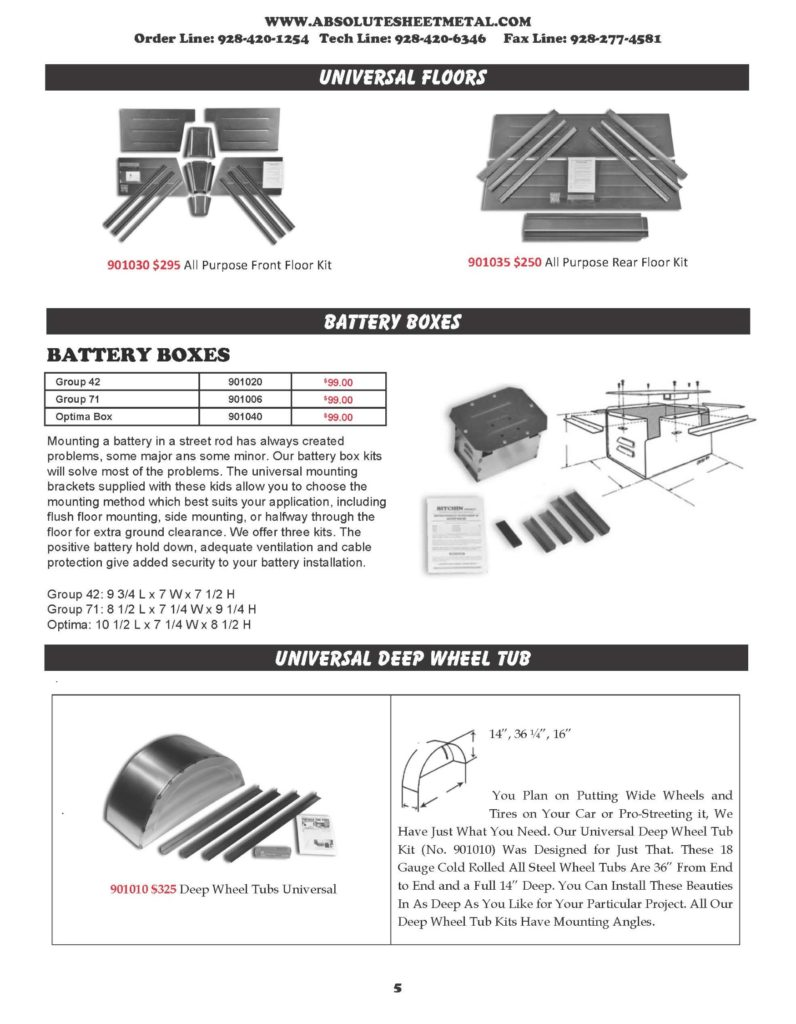 Bitchin Parts Absolute Sheet Metal 1928 - 1931 Ford Trucks Universal Floors Deep Wheel Tub