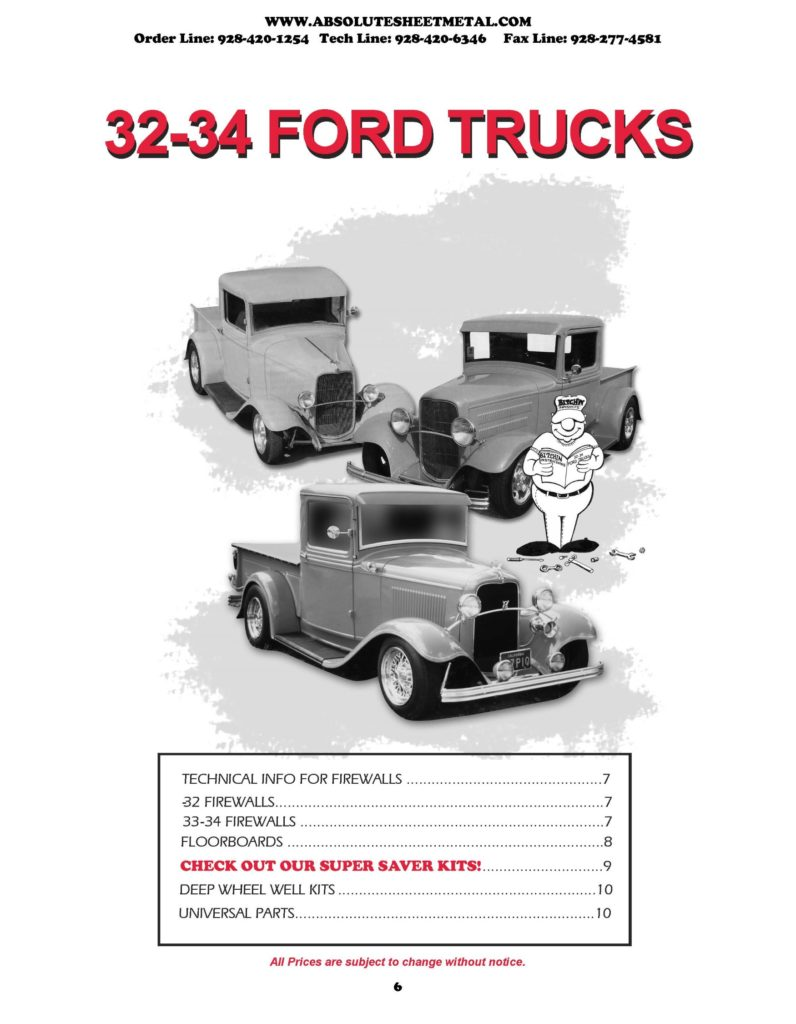 Bitchin Parts Absolute Sheet Metal 1932 - 1934 Ford Trucks 2018 Catalog