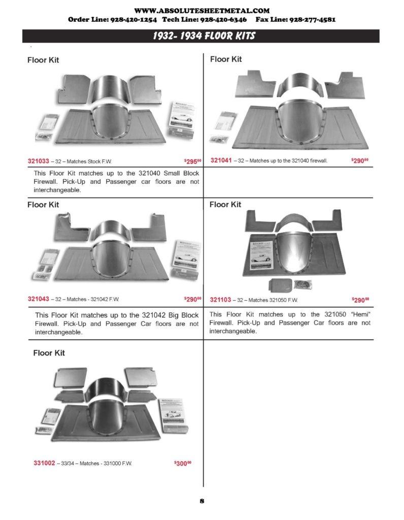 Bitchin Parts Absolute Sheet Metal 1932 - 1934 Ford Trucks floor kits