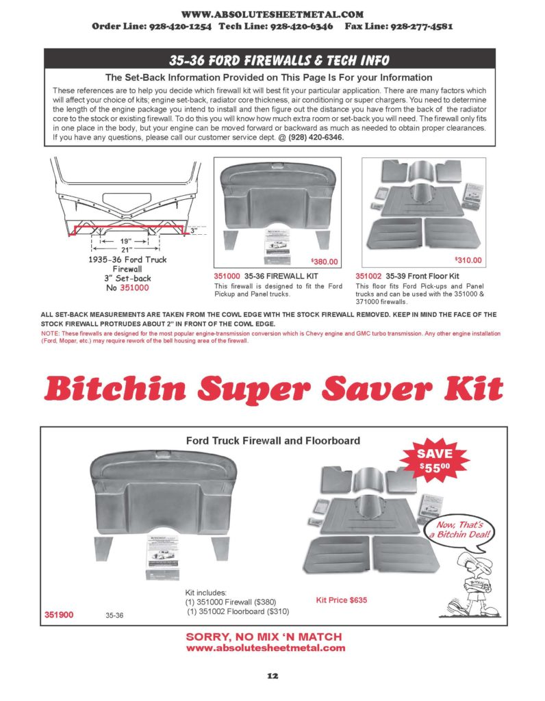 Bitchin Parts Absolute Sheet Metal 1935 - 1936 Ford Trucks Super Saver kits Ford Firewalls