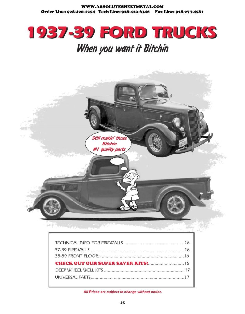Bitchin Parts Absolute Sheet Metal 1937 - 1939 Ford Trucks 2018 Catalog