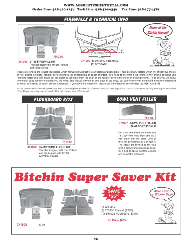 Bitchin Parts Absolute Sheet Metal 1937 - 1939 Ford Trucks Super Saver kits