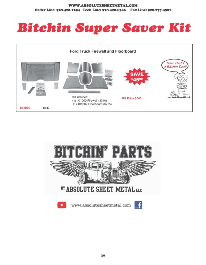 Bitchin Parts Absolute Sheet Metal 1940 - 1947 Ford Trucks 2018 Catalog