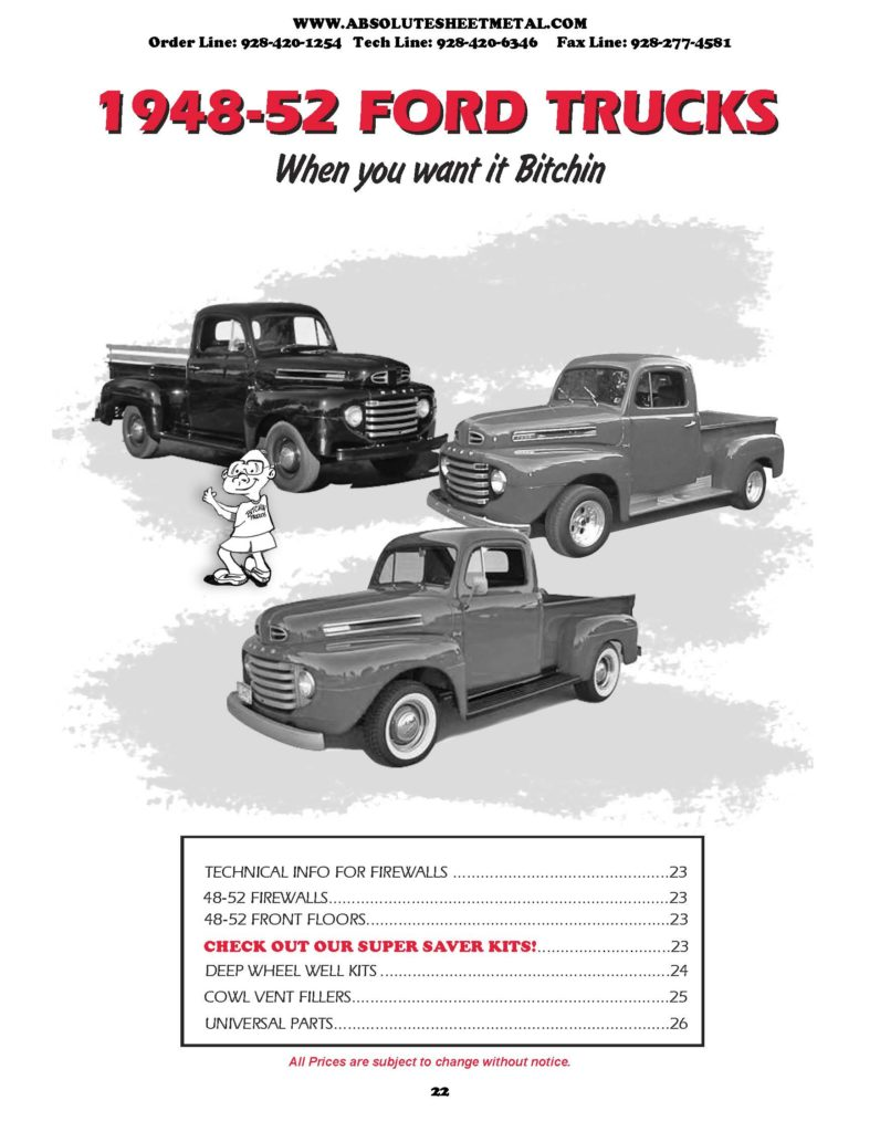 Bitchin Parts Absolute Sheet Metal 1948 - 1952 Ford Cars 2018 Catalog
