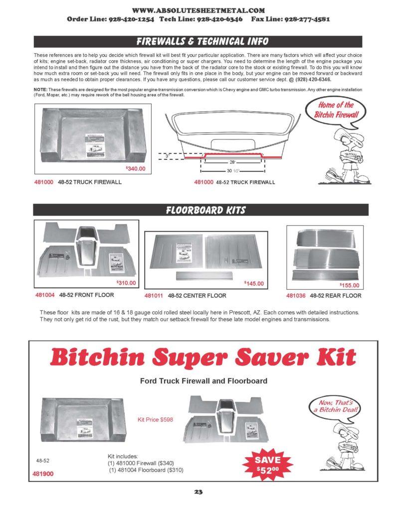 Bitchin Parts Absolute Sheet Metal 1948 - 1952 Ford Cars Firewalls FLoorboard Kits Super Saver Kits