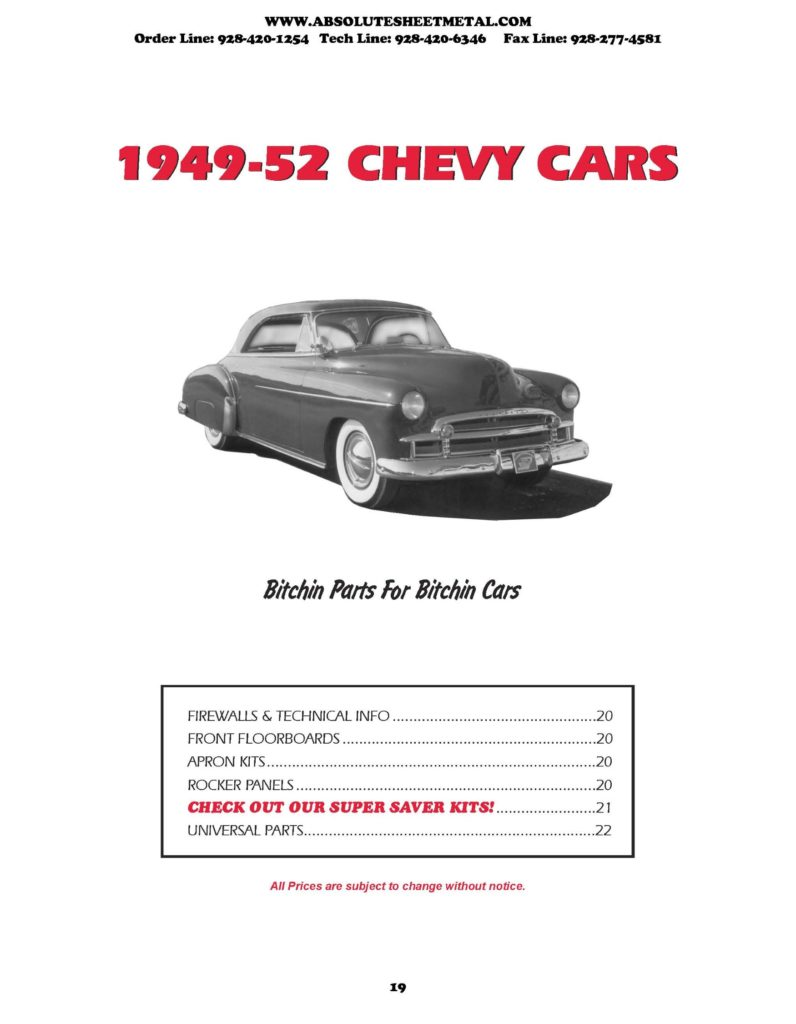 1949 52 Chevy Cars Absolute Sheet Metal