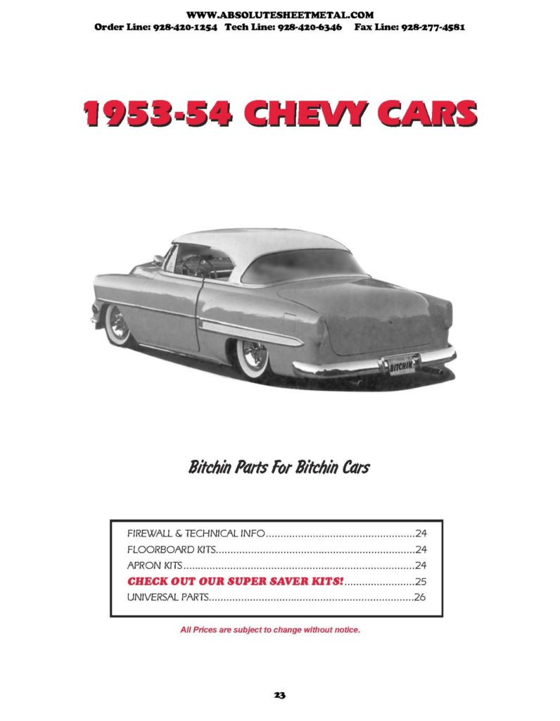 1953-1954 absolutely bitchin chevy car parts