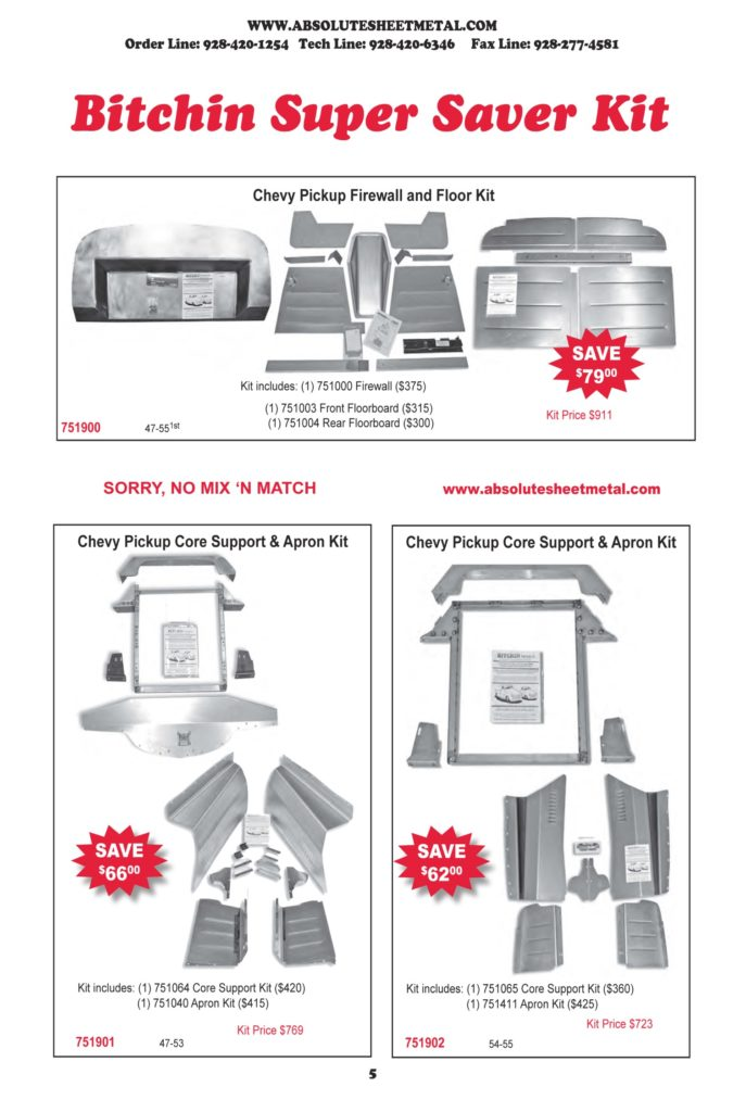 Bitchin Parts Absolute Sheet Metal 1947 - 1955 Chevy Trucks Super Saver kits
